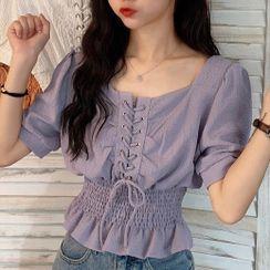 Dreamkura - Short-Sleeve Shirred Lace-Up Blouse