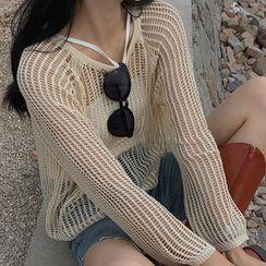 Rhames - 純色吊帶背心 / 鏤空針織罩衫