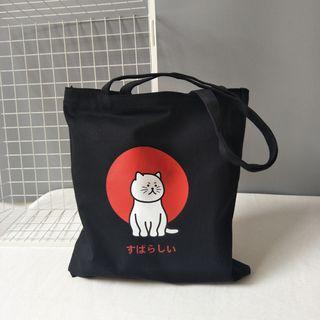 Basaran - 貓印花帆布手提袋