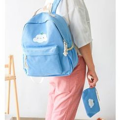 Aishang - Cloud Print Backpack with Pouch