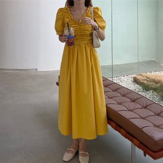 Ashlee - Short-Sleeve Ruffle Midi A-Line Dress