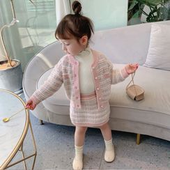 Ruban - Kids Set: Long-Sleeve Tweed Cardigan + Mini Skirt