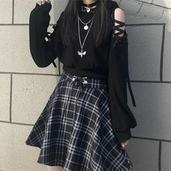 Malnia Home - Lace-Up Long Sleeve Cat Ear Hooded Top / Plaid A-Line Skirt