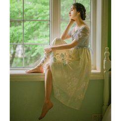 Rosian - Short-Sleeve Floral Chiffon A-Line Dress