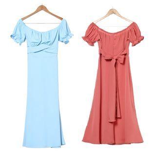 Femme Cradle - 短袖镂空肩A字连衣裙