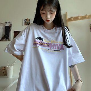IndiGirl - Short Sleeve Print Oversized T-Shirt
