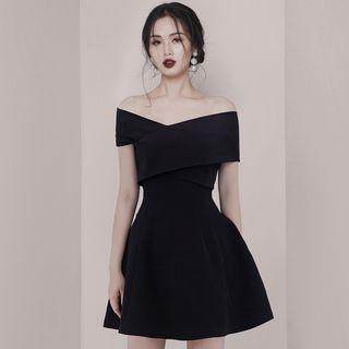 Hasu - Off-Shoulder Mini A-Line Dress