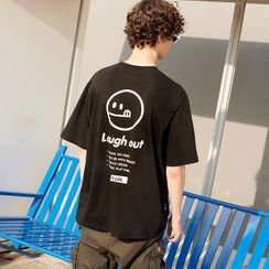 rolarola - [R:LOL] COUPLE Smile-Logo Printed T-Shirt