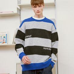 rolarola - [R:LOL] COUPLE Letter-Embroidered Stripe Knit Top