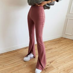 LIPHOP - Band-Waist Slit-Side Boot-Cut Pants