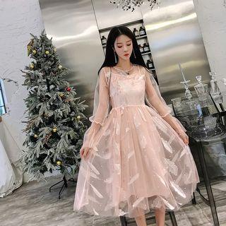 Jolly Club - Set: Long-Sleeve Sheer A-Line Midi Dress + Slip Dress