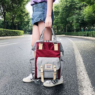 Sosara - Canvas Color-Block Backpack