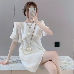 Flowerisque - Short-Sleeve Ruffle Mini Shift Dress