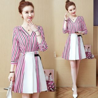 Sienne - Set: 3/4-Sleeve Striped Shirt + Mini Skirt