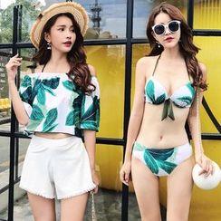 Salanghae - Couple Matching Floral Bikini / Cover Up / Swim Shorts / Set