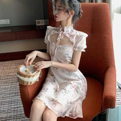 Gangnam Garden - Floral Short-Sleeve Slim-Fit Qipao Dress