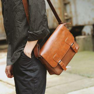 BagBuzz - Faux Leather Buckled Shoulder Bag