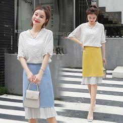 Sienne - Set: Elbow-Sleeve Top + Midi Skirt