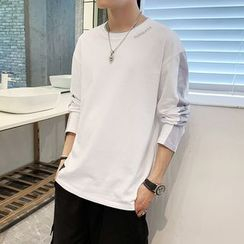 Phoneus - Long-Sleeve Embroidered Letter Color Block T-Shirt