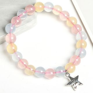 Alloy Star Faux Crystal Bead Bracelet