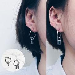 PANGU - 鎖頭 / 鑰匙單邊耳飾