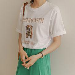 JUSTONE - Dog-Printed Round-Neck T-Shirt