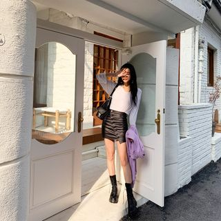 PPGIRL - Diagonal-Buttoned Mini Skirt