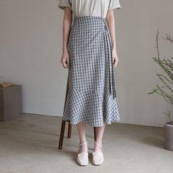 NAIN - Ruffle-Hem Plaid Long Wrap Skirt