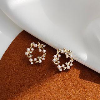 Pachamama - 合金仿珍珠樹枝圈環耳環