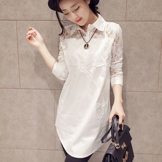 EFO - Long-Sleeve Lace Panel Long Blouse