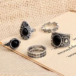 Yongge - Set of 5: Blackened Alloy Ring (Assorted Designs)