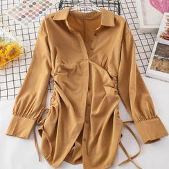 Inkmilan - Long-Sleeve Drawstring Mini Shirtdress