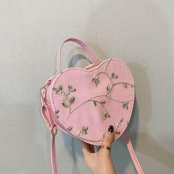 Koniga - Embroidered Heart Crossbody Bag
