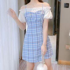Sitron - Mock Two-Piece Cold-Shoulder Plaid Mini Dress