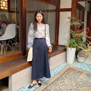 FROMBEGINNING - A-Line Maxi Wrap Skirt