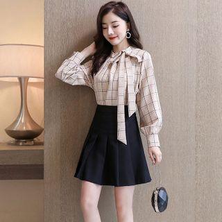 Romantica - 套装: 长袖格子衬衫 + 迷你打褶裥裙