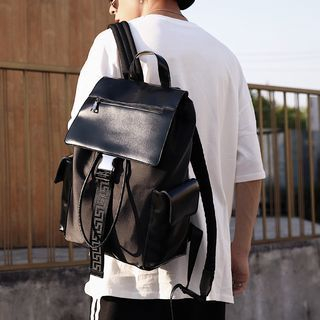 ETONWEAG - Square Faux-Leather Backpack