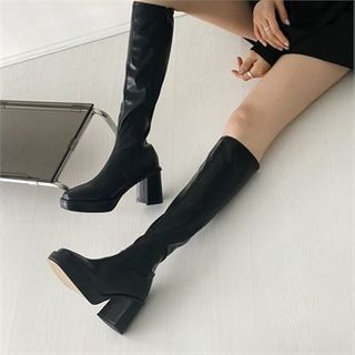 MONOBARBI - Chunky-Heel Platform Tall Boots