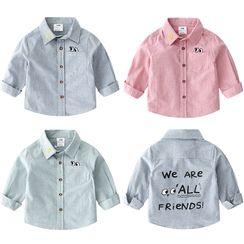 贝壳童装 - 小童印字印花衬衫