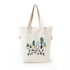 Lozynn - Cactus Print Canvas Tote Bag / Short-Sleeve T-Shirt / Set