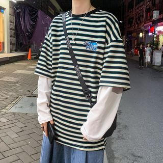 BORGO - Mock Two Piece Long-Sleeve Striped T-Shirt