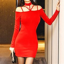 Oscuro - Long-Sleeve Cutout Mini Dress