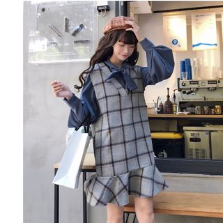 Sisyphi(シシピ) - Bow Neck Shirt / Plaid Sleeveless Dress