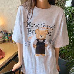 icecream12 - Bear-Printed Long T-Shirt