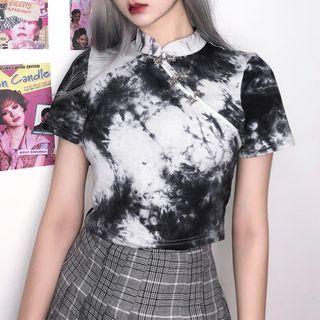 Puffie - Mandarin Collar Short-Sleeve T-Shirt