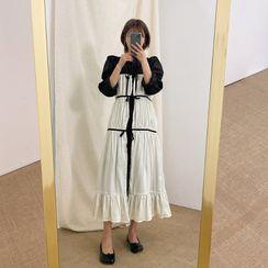 chuu - Beribboned Two-Tone Robe Dress