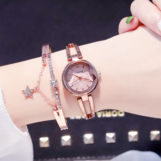 Cimmeria - Set: Retro Bracelet Watch + Rhinestone Star Bangle