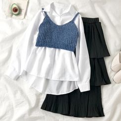 HXT - Plain Shirt / Cropped Knit Camisole Top / Layered Midi A-Line Skirt