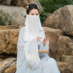 Tangier - Traditional Chinese Butterfly Embroidered Chiffon Face Veil