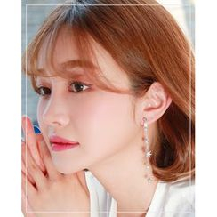 Miss21 Korea - Rhinestone Star Drop Earrings